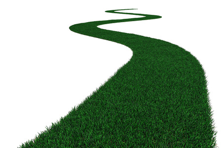 Green grass road on white. 3D illustration. Stock Photo
