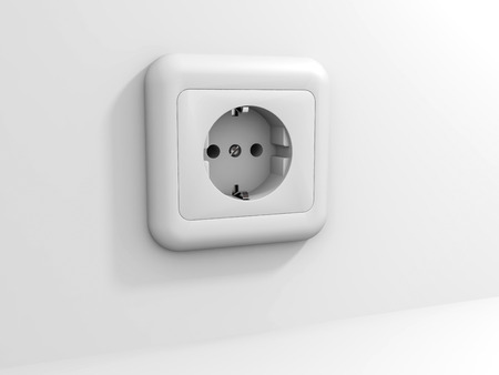 grounded plug: White electric socket at the wall. 3D illustration.