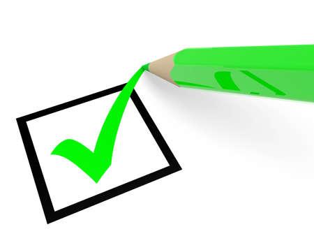 checkbox: Segno di spunta verde in casella e matita. Voto. Illustrazione 3D. Archivio Fotografico