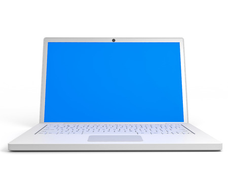 Laptop with blue screen on white background. 3D illustration. illustration