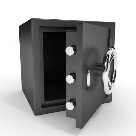 Opened safe on white background. 3D illustration. illustration