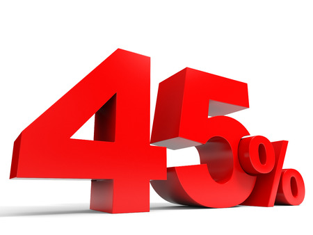 Red forty five percent off. Discount 45%. 3D illustration. illustration