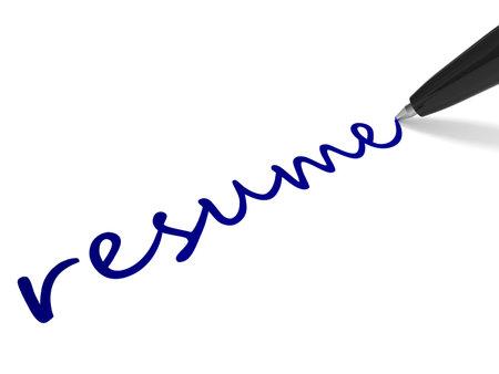 Text RESUME and pen on white background. 3D illustration. 版權商用圖片
