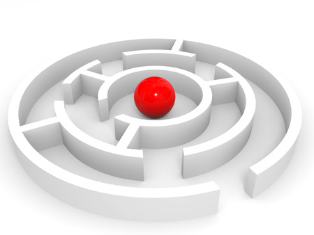 Red ball into the maze. Success concept. 3D illustration.