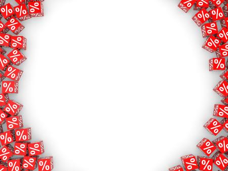 赤い割引キューブと空のスペース。3 D イラスト。