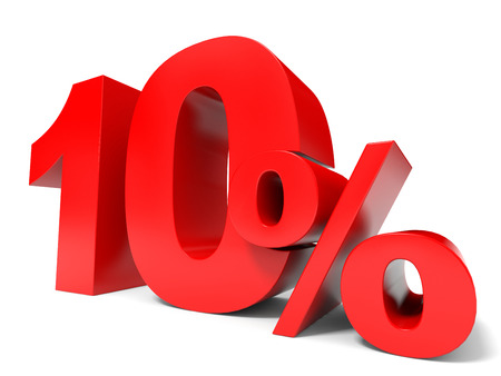 price hit: Red ten percent off. Discount 10%. 3D illustration. Stock Photo