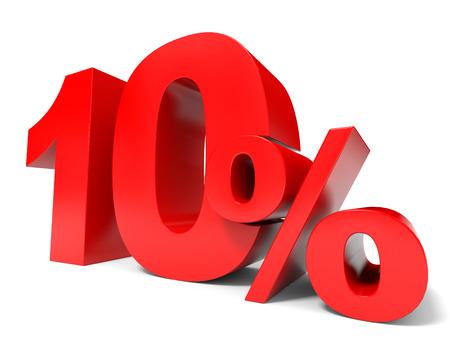 Red ten percent off. Discount 10%. 3D illustration. Standard-Bild