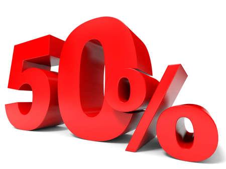 赤の 50% 引き。50% を割引します。3 D イラスト。