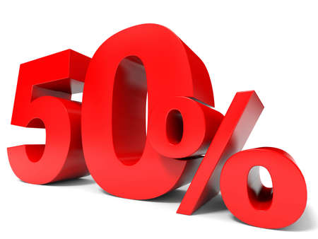Red fifty percent off. Discount 50%. 3D illustration.