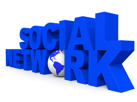Social network concept on white background. 3D illustration. illustration
