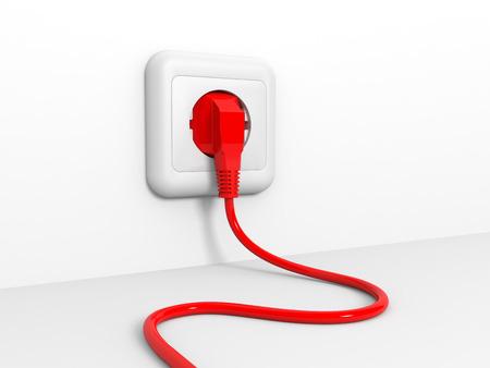 usage: Plug and socket. 3D illustration. Stock Photo