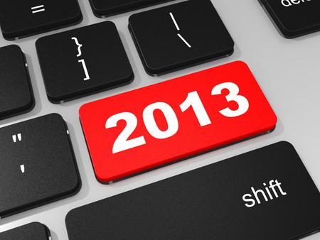 2013 new year key on keyboard. 3D illustration. illustration