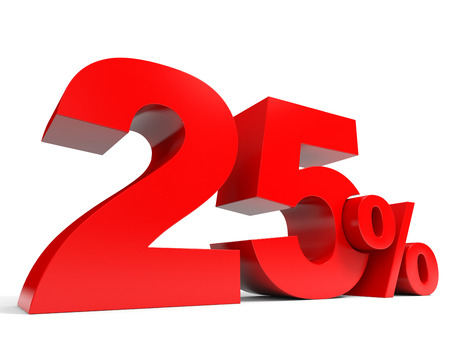 赤 25% オフ。25% を割引します。3 D イラスト。