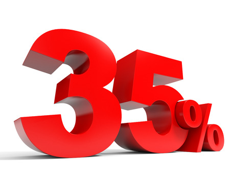 thirty five: Red thirty five percent off. Discount 35%. 3D illustration.
