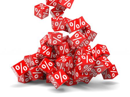 Falling red discount cubes. 3D illustration. 版權商用圖片