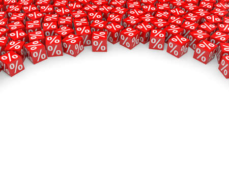 Red discount cubes and empty space. 3D illustration.