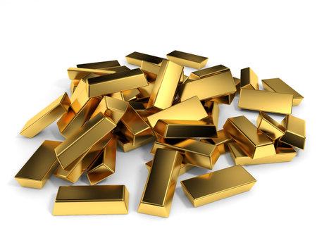 Gold bars on white background. 3D illustration.