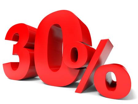 赤 30% オフ。30% を割引します。3 D イラスト。