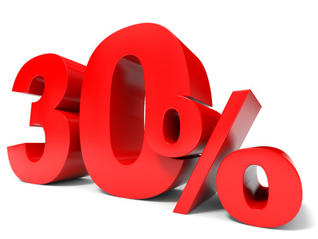 thirty percent off: Red thirty percent off. Discount 30%. 3D illustration.