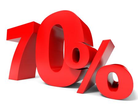 Red seventy percent off. Discount 70%. 3D illustration. illustration
