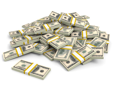 Money heap on white background. One hundred dollars. 3D illustration. illustration
