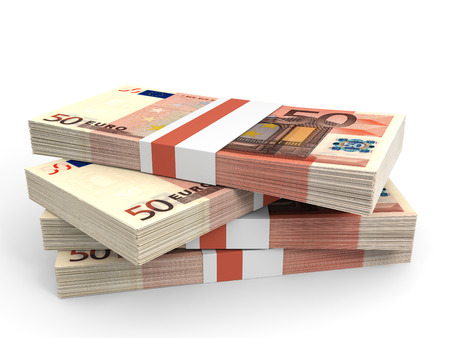Stack of EURO banknotes. Fifty euro. 3D illustration. Stock Photo