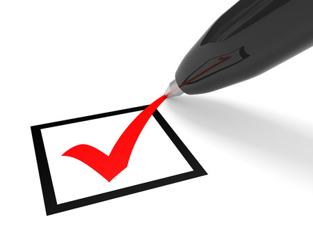 Red tick in checkbox and pen. Vote. 3D illustration.