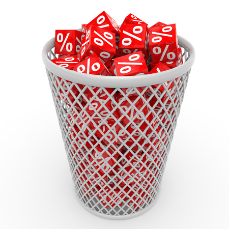 Red discount cubes in basket. 3D illustration. illustration