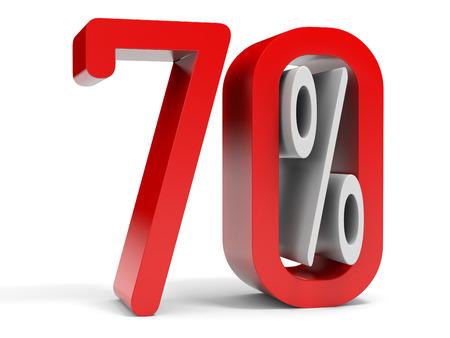 seventy: Il settanta per cento di sconto. 10% di sconto. Illustrazione 3D.