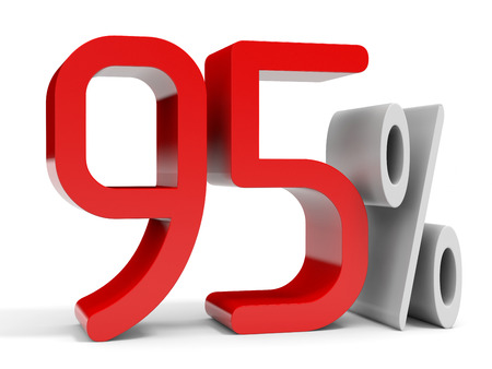95: Ninety five percent off. Discount 10%. 3D illustration. Stock Photo