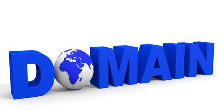 DOMAIN text, earth globe replace O letter. 3D illustration. illustration