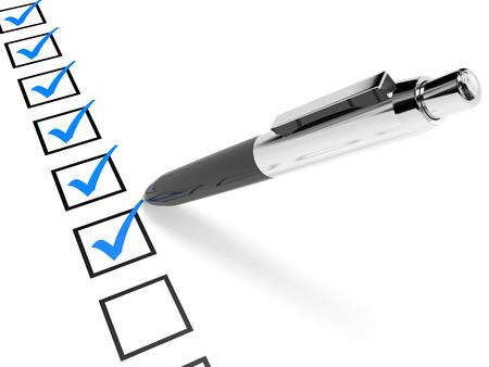 lapiceros: Revise la lista. Azul garrapatas en las casillas de verificaci�n y la pluma. Ilustraci�n 3D. Foto de archivo