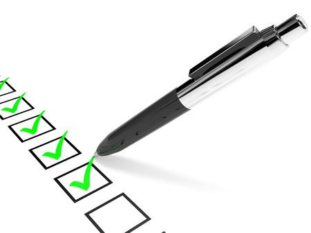 リストを確認してください。緑のチェックでダニとペンします。3 D イラスト。