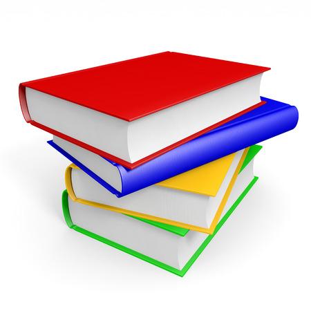 Stack of books on white background. 3D illustration. Zdjęcie Seryjne