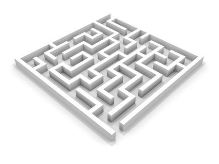 Blanc labyrinthe carré. Illustration 3D. Banque d'images - 27054161