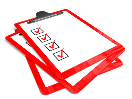 Red pad holders  with check boxes on white background. 3D illustration. Stock Photo
