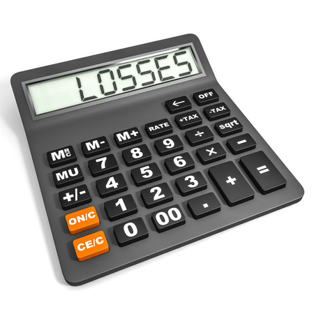 Calculator with LOSSES on display on white background. 3D illustration. illustration