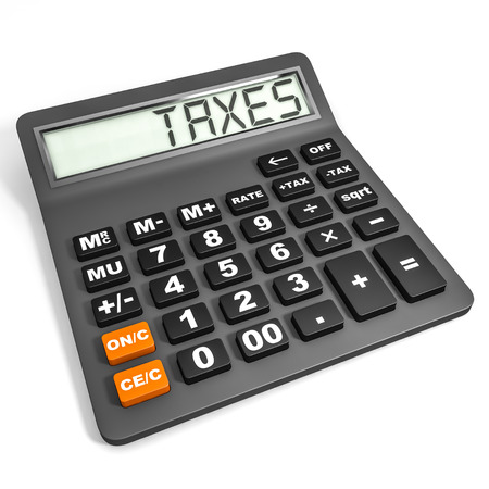 Calculator with TAXES on display on white background. 3D illustration. Stock Photo