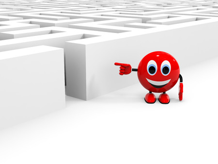 Cute character pointing on entrance into the maze. 3D illustration illustration
