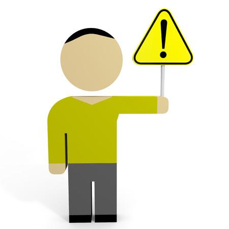 3D man hold attention sign. 3D illustration. illustration