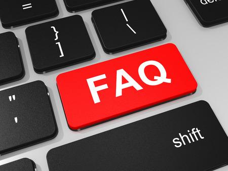 FAQ key on keyboard of laptop computer. 3D illustration.