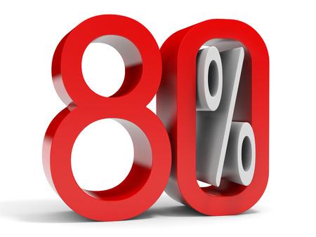 achtzig: Achtzig Prozent aus. 10% Rabatt. 3D-Darstellung.