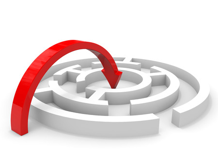Arrow jump into the center of maze. Clever solution. 3D illustration.
