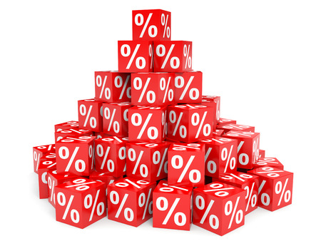 interest rates: Red discount cubes. 3D illustration. Stock Photo