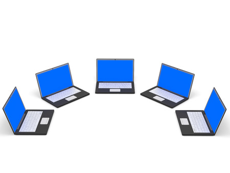 Laptops with blue screen on white background. 3D illustration. illustration