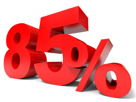 Red eighty five percent off. Discount 85%. 3D illustration. illustration
