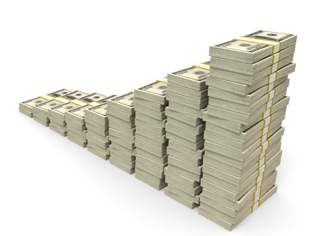 us paper currency: Money stacks graph. One hundred dollars. 3D illustration.