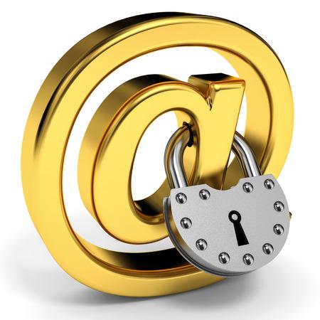 E-mail symbol with padlock. Internet security concept. 3D illustration. illustration