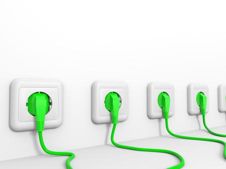 Plugs and socket. 3D illustration. illustration