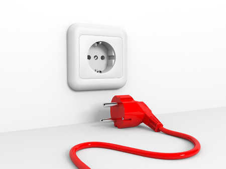 Plug and socket. 3D illustration. Stock Photo